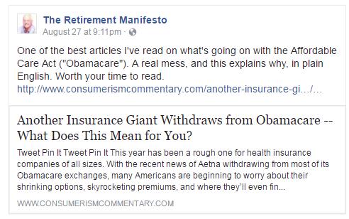 facebook obamacare