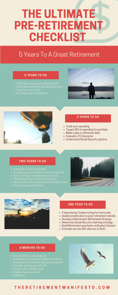 the ultimate pre retirement checklist the retirement manifesto